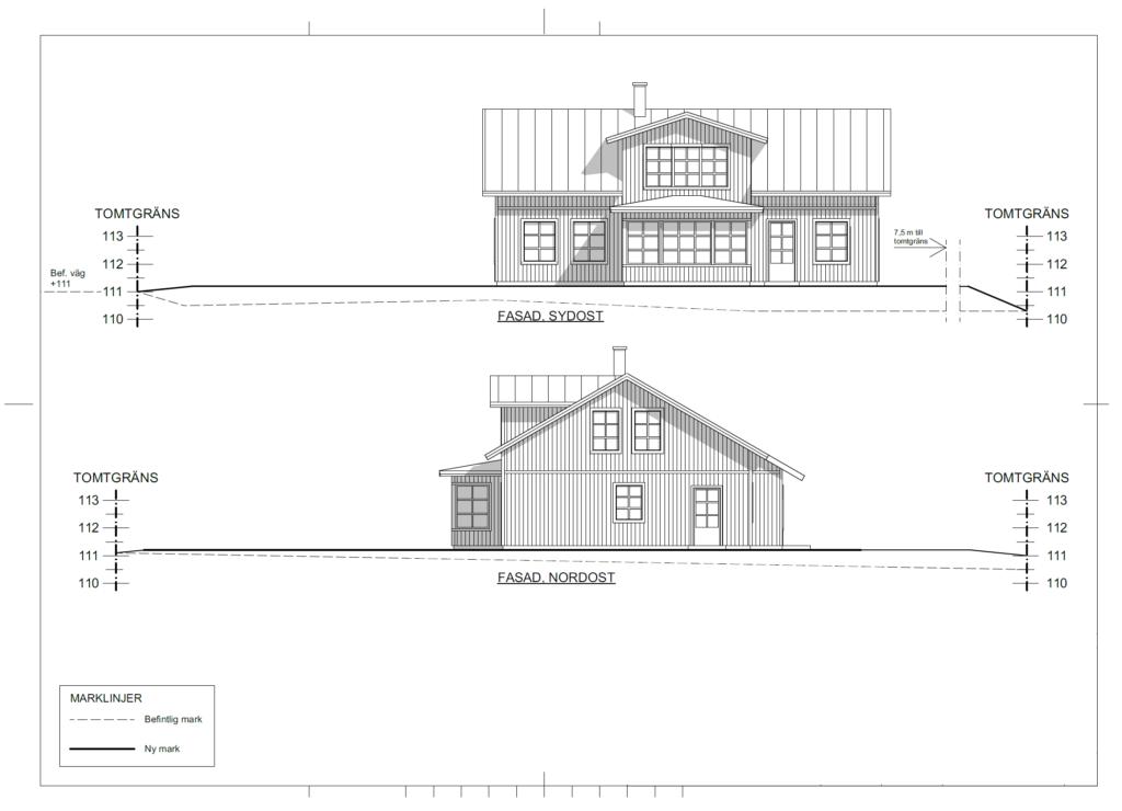 Villa Johansson/Persson fasadskiss 1